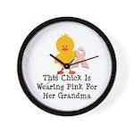 Pink Ribbon Chick For Grandma Wall Clock