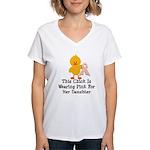 Pink Ribbon Chick For Daughter Women's V-Neck T-Sh