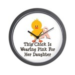 Pink Ribbon Chick For Daughter Wall Clock