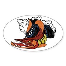 Vintage Cuda Fish Oval Sticker