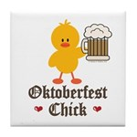 Oktoberfest Chick Tile Coaster