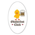 Oktoberfest Chick Oval Sticker (10 pk)