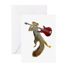 Squirrel Red Guitar Greeting Card