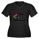 10th Women's Plus Size V-Neck Dark T-Shirt