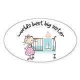 big sister little sister matching Oval Stickers