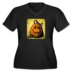 Vintage Pumpkin Women's Plus Size V-Neck Dark T-Sh