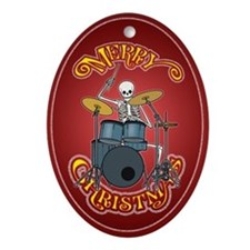 Drum Set Playing Skeleton Christmas Ornament