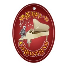 Skeleton Piano Player Christmas Ornament