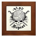 Knitting Skull Black Framed Tile
