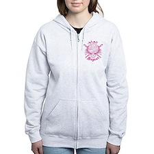 Knitting Skull Pink Zip Hoodie