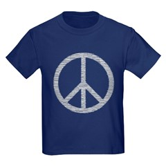 White Peace Sign Kids Dark T-Shirt