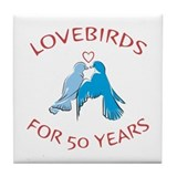 50th Lovebirds Tile Coaster