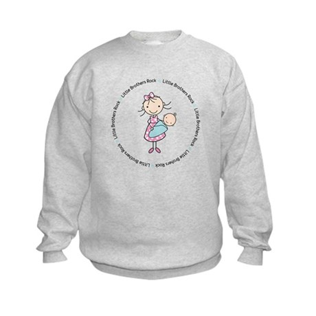 little brothers rock big sister shirt Kids Sweatsh