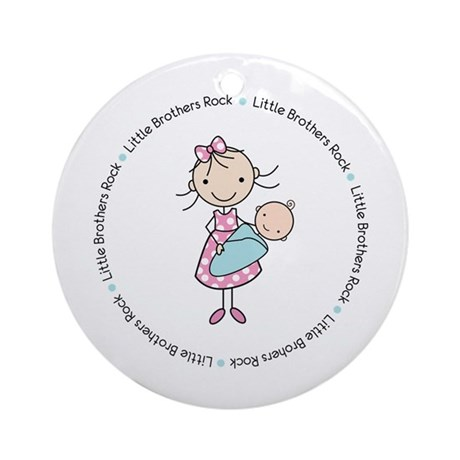 little brothers rock big sister shirt Ornament (Ro