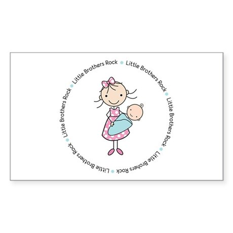little brothers rock big sister shirt Sticker (Rec