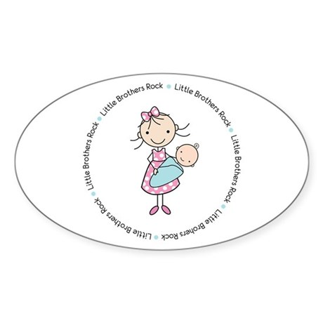 little brothers rock big sister shirt Sticker (Ova