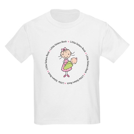little sisters rock big sister shirt Kids Light T-