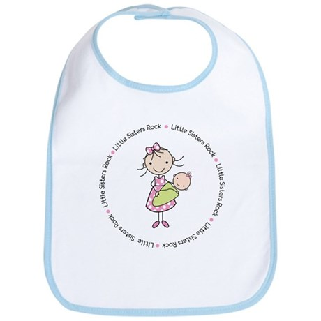 little sisters rock big sister shirt Bib