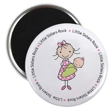 little sisters rock big sister shirt Magnet