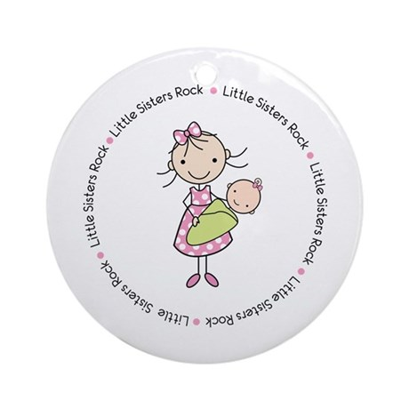 little sisters rock big sister shirt Ornament (Rou
