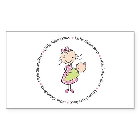 little sisters rock big sister shirt Sticker (Rect
