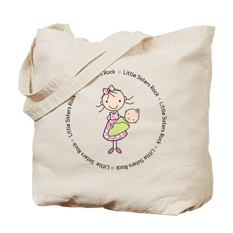 little sisters rock big sister shirt Tote Bag