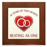 20th Heart Rings Framed Tile