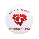 15th Heart Rings 3.5&quot; Button