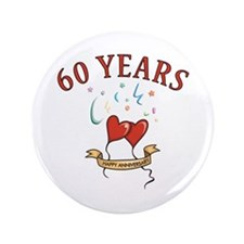 "60th Festive Hearts 3.5"" Button"
