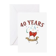 40th Festive Hearts Greeting Card