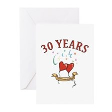 30th Festive Hearts Greeting Cards (Pk of 10)