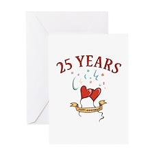 25th Festive Hearts Greeting Card