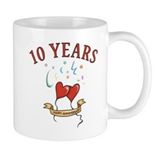 10th Festive Hearts Small Mugs
