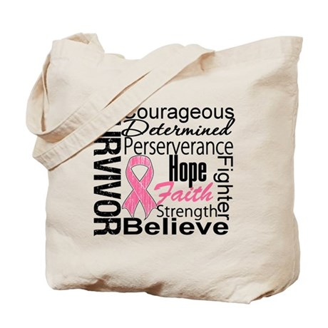 Breast Cancer Collage Tote Bag
