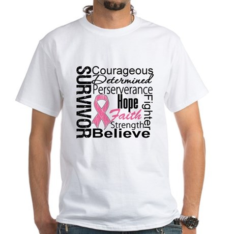 Breast Cancer Collage White T-Shirt