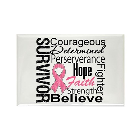 Breast Cancer Collage Rectangle Magnet (100 pack)