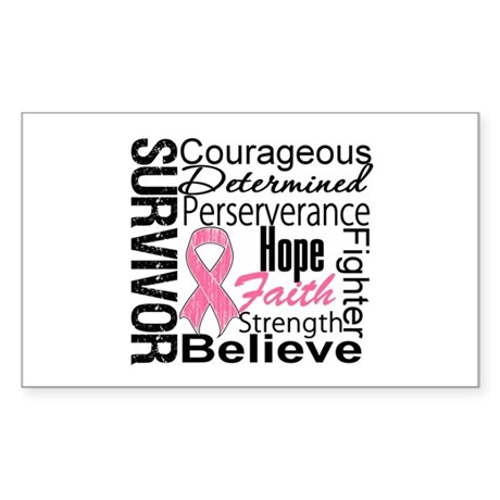 Breast Cancer Collage Rectangle Sticker 10 pk)
