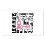 Breast Cancer Collage Rectangle Sticker 50 pk)