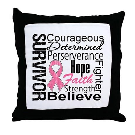 Breast Cancer Collage Throw Pillow