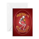 Trombone Playing Skeleton Christmas Greeting Cards