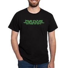 10 Types Of People (Binary) Black T-Shirt