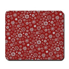 Red and Silver Snowflakes Mousepad