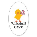 Volleyball Chick Oval Sticker (10 pk)