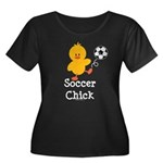 Soccer Chick Women's Plus Size Scoop Neck Dark T-S