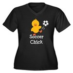 Soccer Chick Women's Plus Size V-Neck Dark T-Shirt
