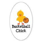 Basketball Chick Oval Sticker (10 pk)
