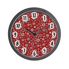 Red and Silver Snowflakes Wall Clock