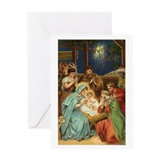 Vintage Christmas Art Nativity Greeting Card