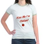 Kiss Me I'm Italian Jr. Ringer T-Shirt