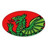 Midrealm RED Dragon vinyl euro-style oval Decal